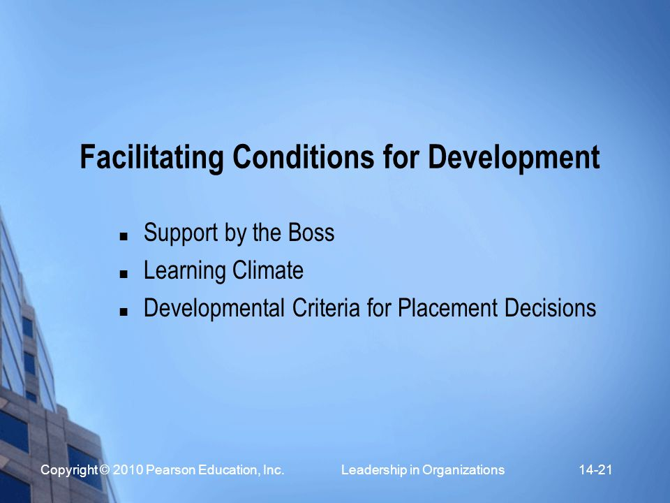 Facilitating Conditions for Development