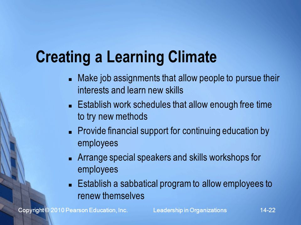 Creating a Learning Climate
