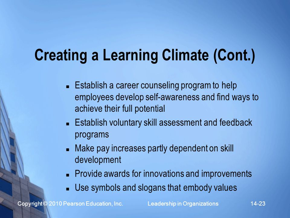 Creating a Learning Climate (Cont.)