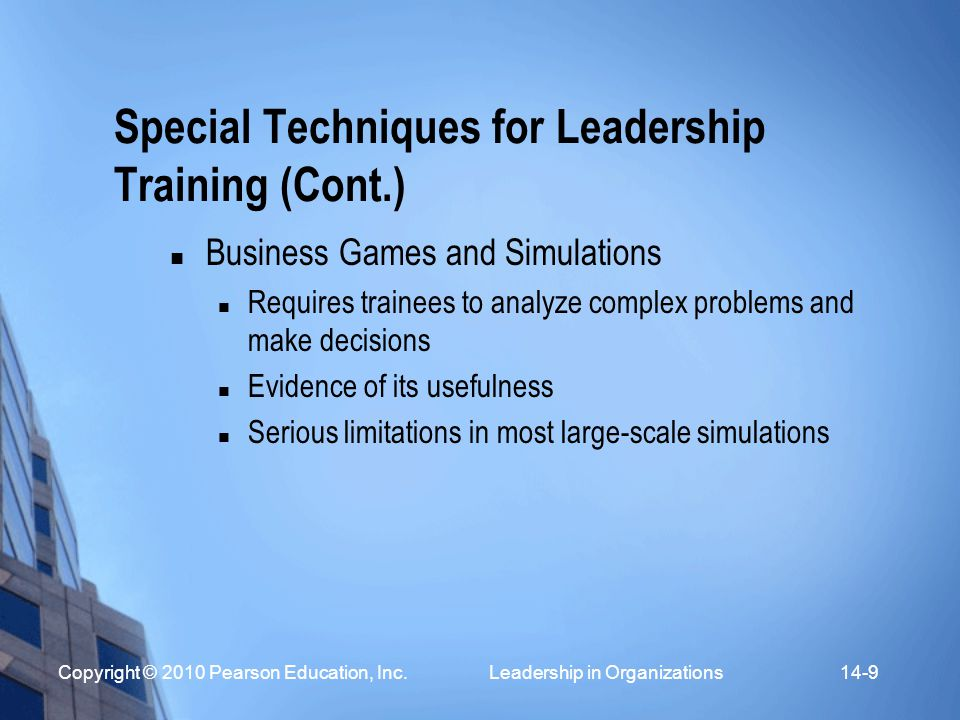 Special Techniques for Leadership Training (Cont.)