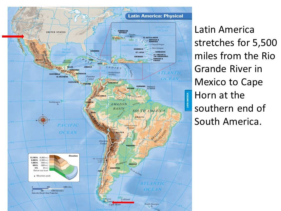 map physical geography Latin america