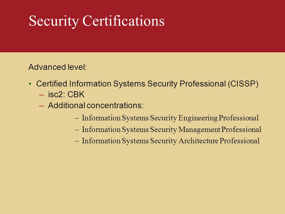 Security Certification Ppt Download