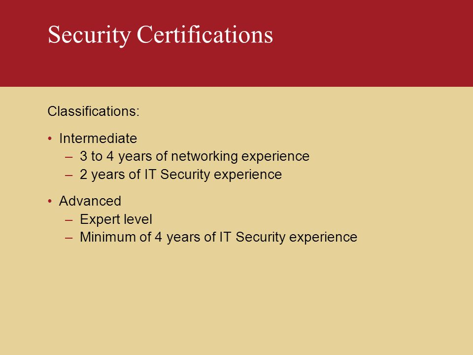 Security Certification - ppt download