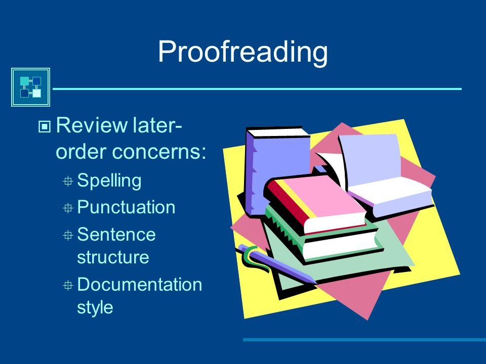 Proofreading Review later-order concerns: Spelling Punctuation