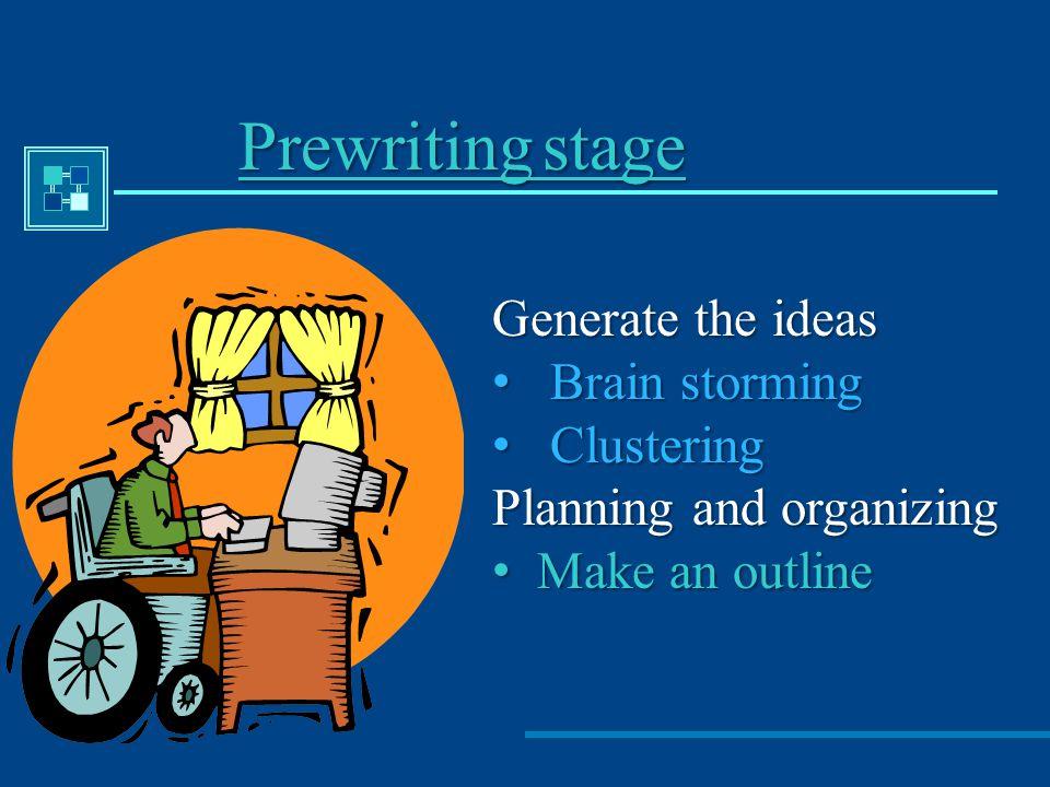 Prewriting stage Generate the ideas Brain storming Clustering