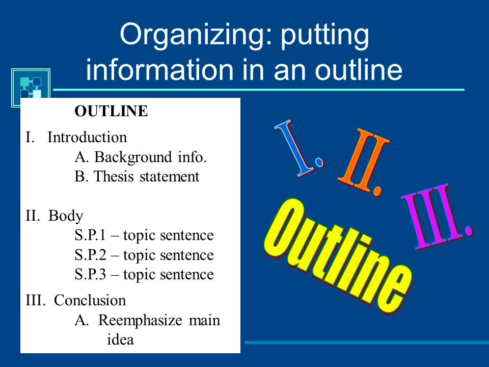 Organizing: putting information in an outline