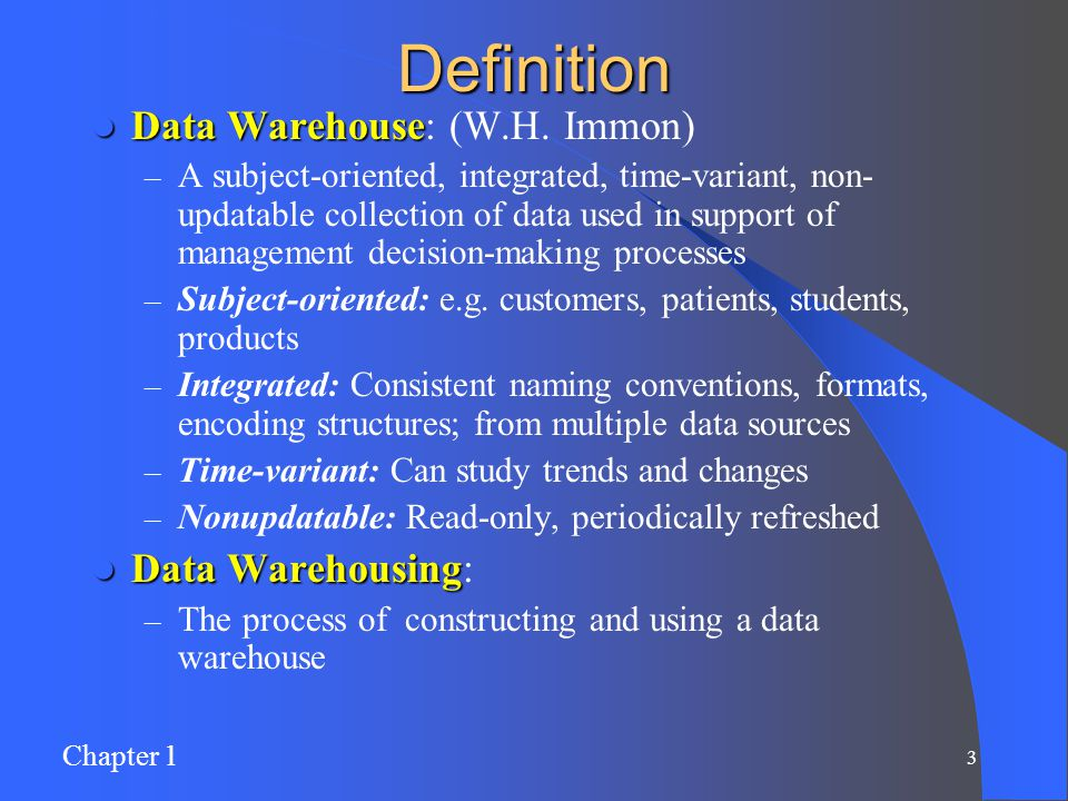 Chapter 1: Data Warehousing - ppt download