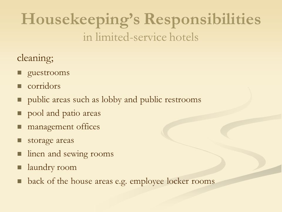 Planning and Organizing the Housekeeping Department - ppt