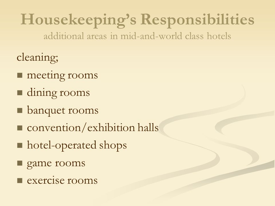 3 Housekeepingu0027s Responsibilities Additional ...