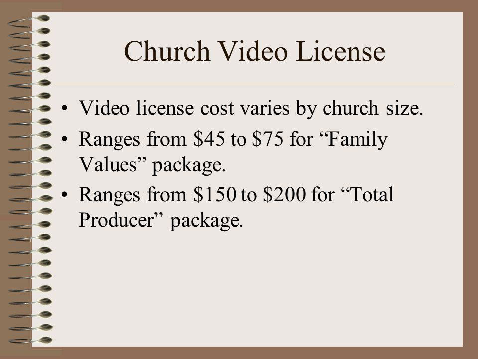 Church Video License Video license cost varies by church size.