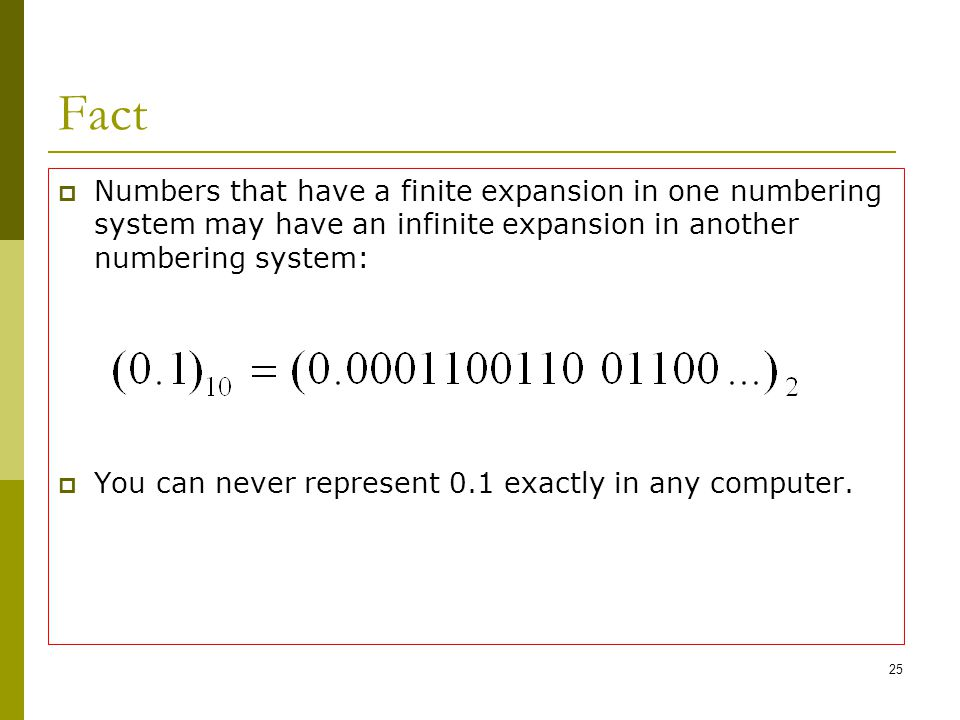 Fact Numbers that have a finite expansion in one numbering system may have an infinite expansion in another numbering system:
