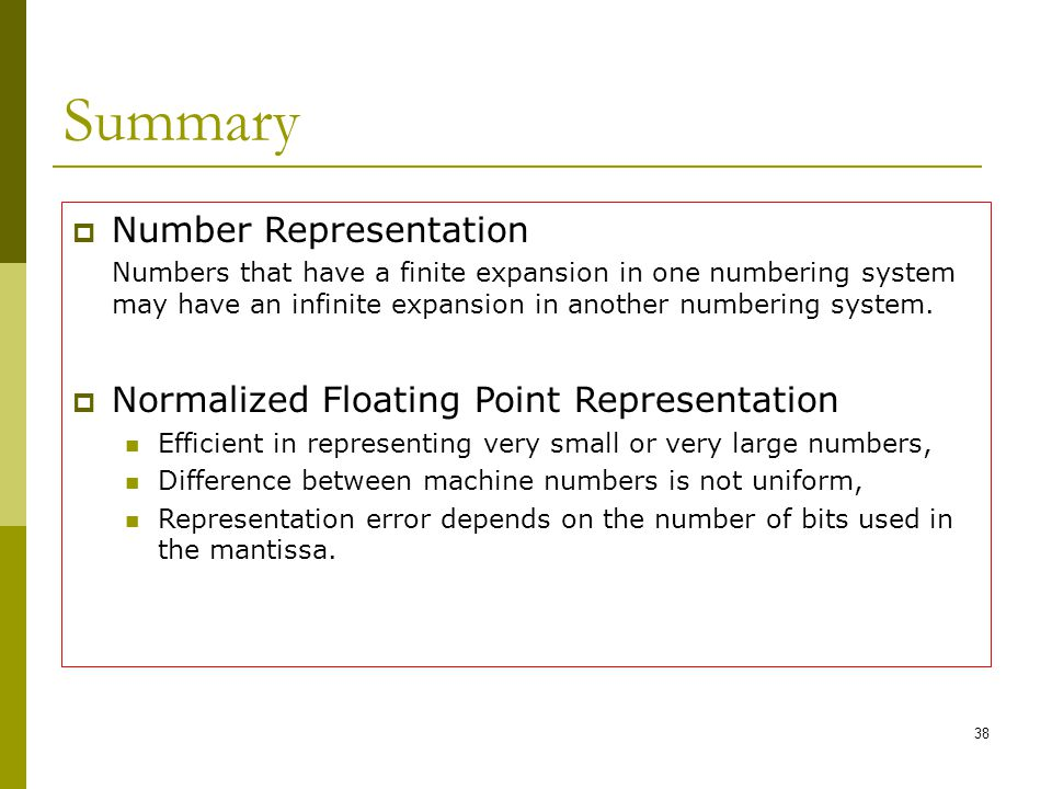 Summary Number Representation Normalized Floating Point Representation