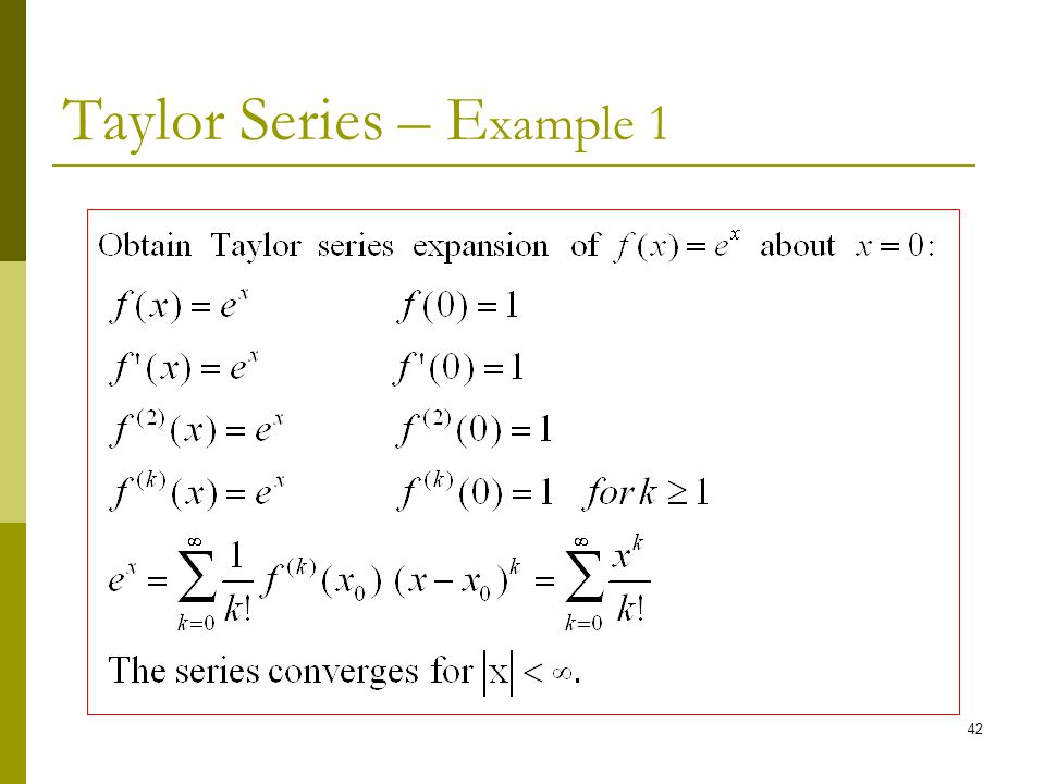 Taylor Series – Example 1