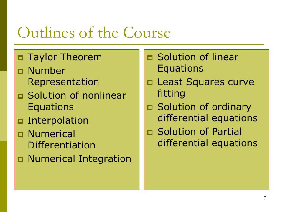 Outlines of the Course Taylor Theorem Number Representation