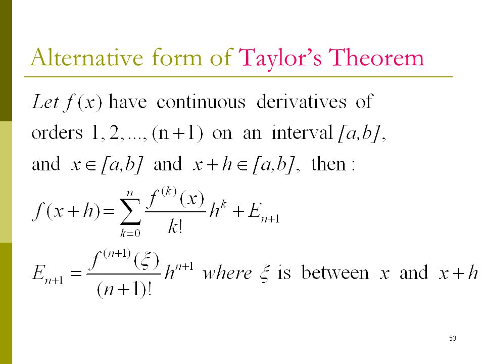Alternative form of Taylor's Theorem