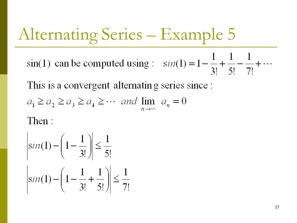 Alternating Series – Example 5