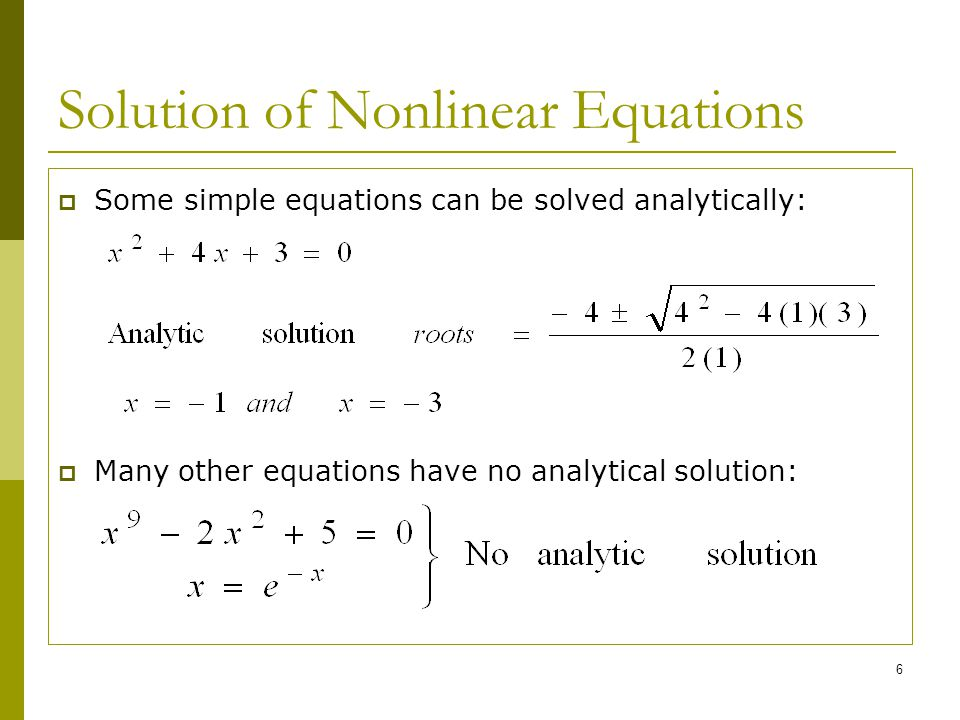 Solution of Nonlinear Equations