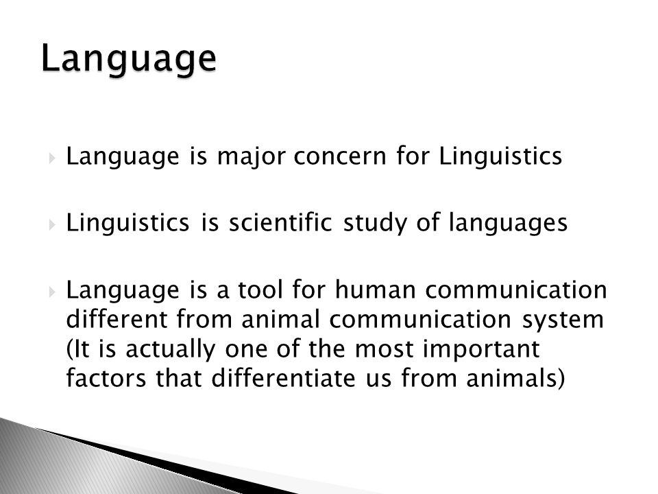 Language Language is major concern for Linguistics