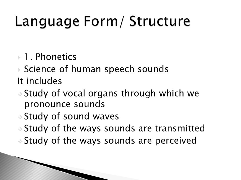 Language Form/ Structure