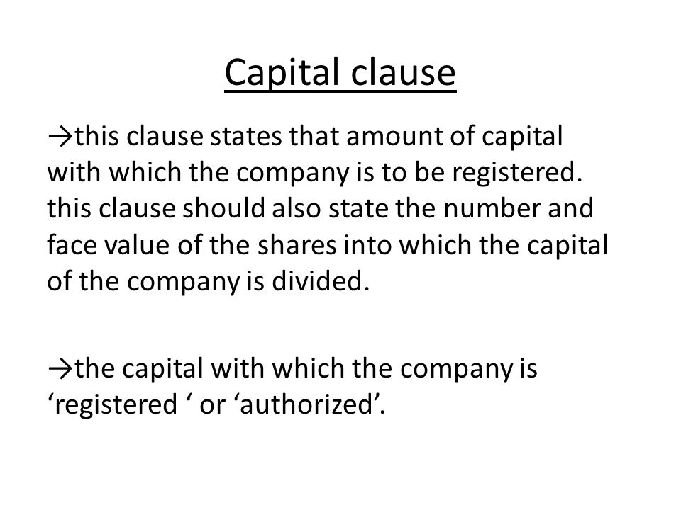 Capital clause