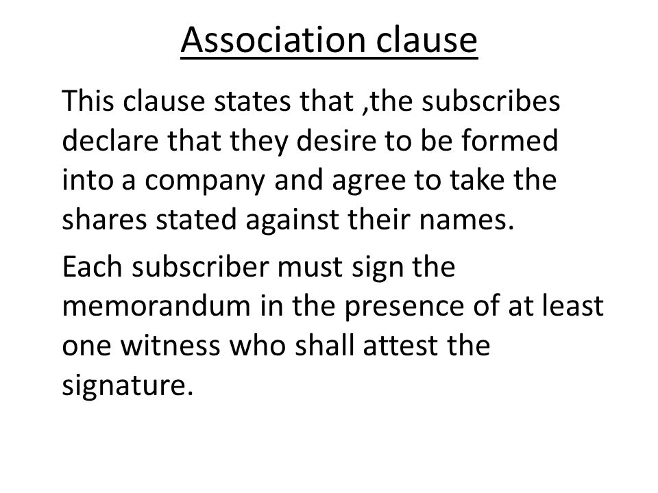 Association clause