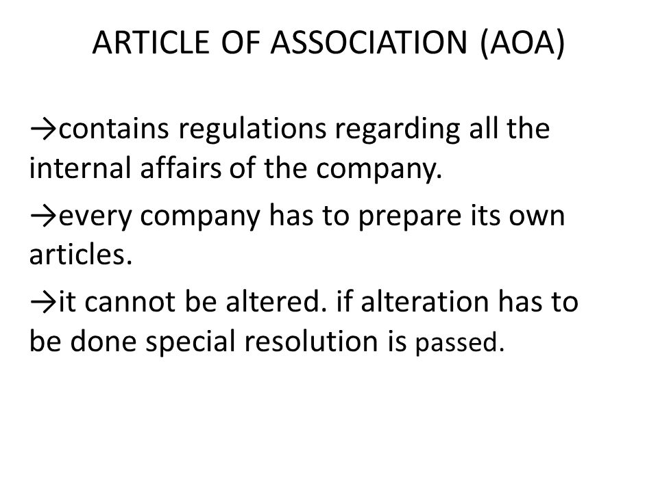 ARTICLE OF ASSOCIATION (AOA)