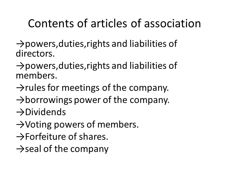 Contents of articles of association