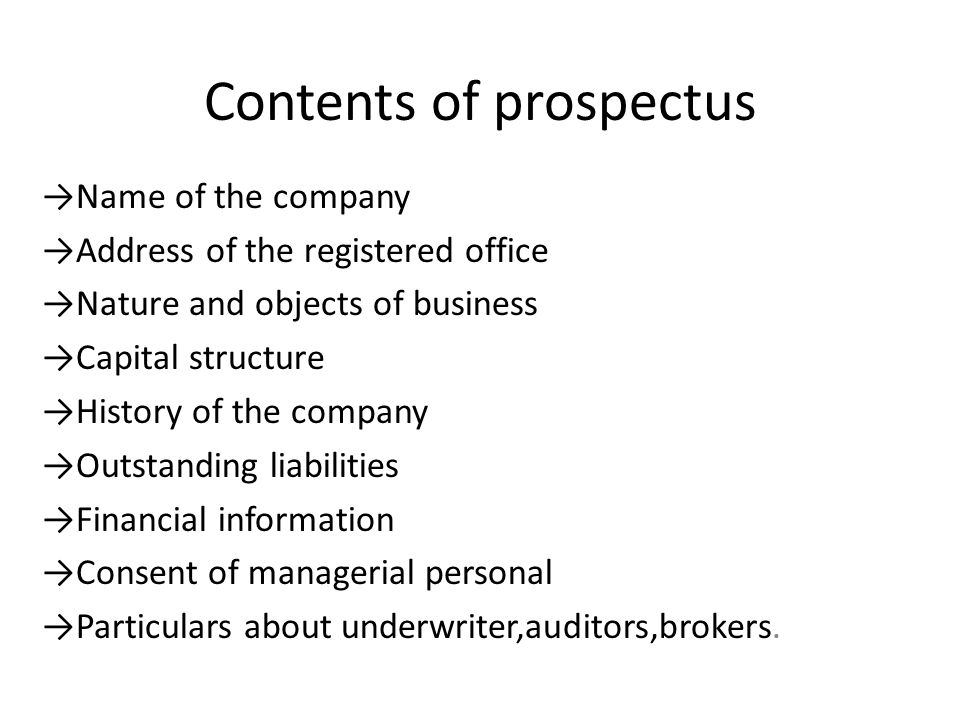 Contents of prospectus