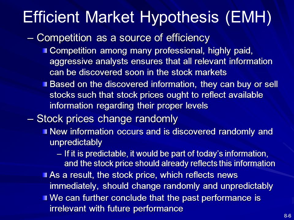 "an examination of the efficient market hypothesis The efficient market hypothesis is associated with the idea of a ""random walk,"" which is a term loosely used in the finance literature to characterize a price series where all subsequent price changes represent random departures from previous prices."