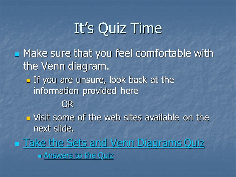 Sets and venn diagrams by amber k wozniak ppt video online download its quiz time make sure that you feel comfortable with the venn diagram if you ccuart Image collections