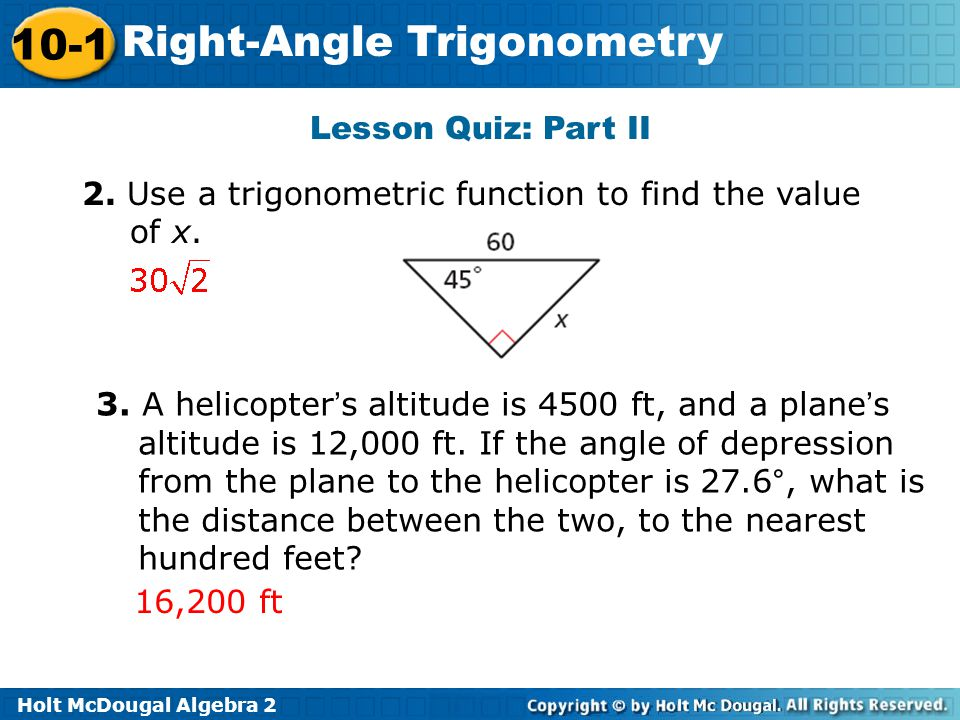 lesson 13-1 problem solving right angle trigonometry