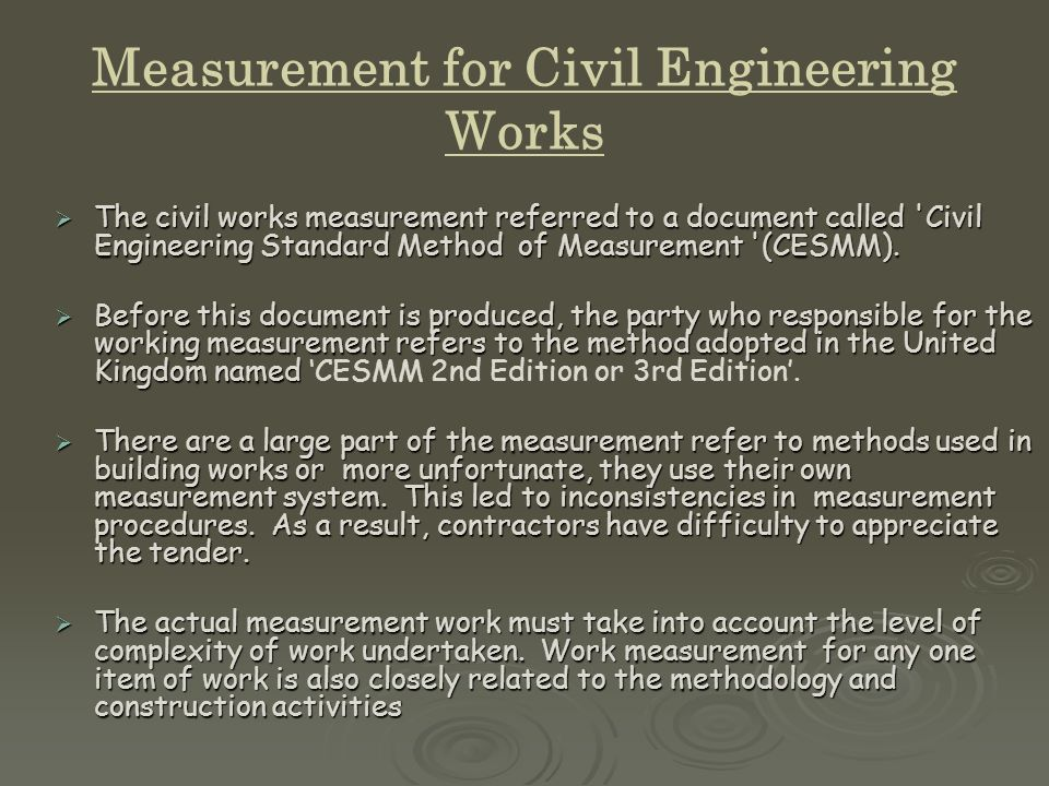 MALAYSIAN STANDARD METHODS OF MEASUREMENT FOR CIVIL ENGINEERING