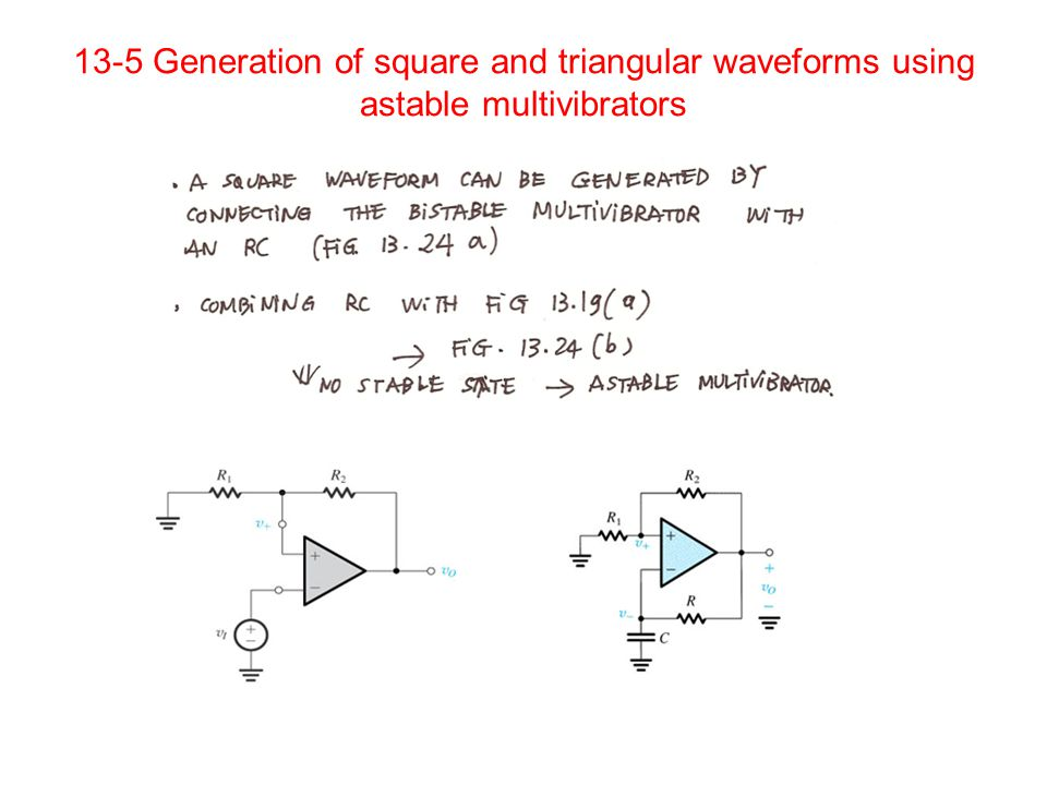 13-5 Generation of square and triangular waveforms using astable multivibrators