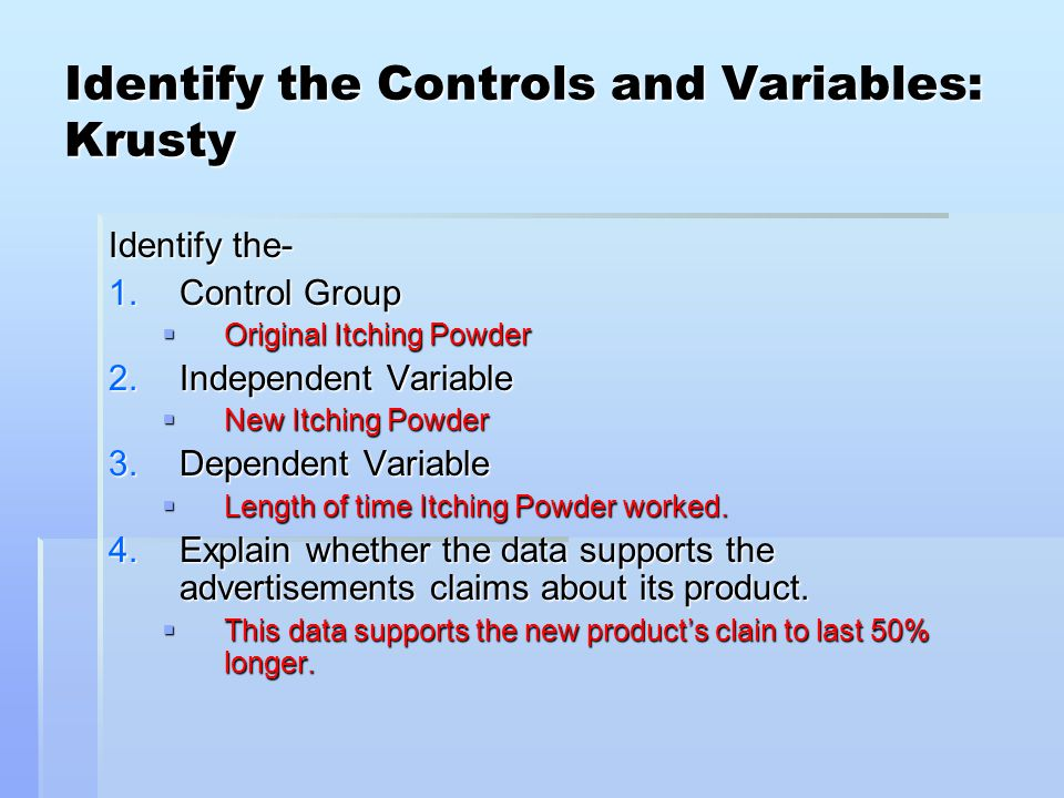 Identify The Controls And Variables Smithers Ppt Video Online