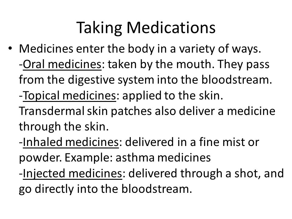 Taking Medications