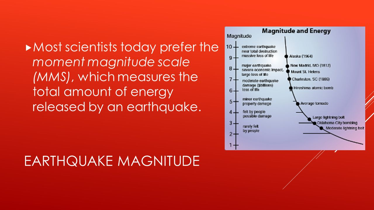 Most scientists today prefer the moment magnitude scale (MMS), which measures the total amount of energy released by an earthquake.