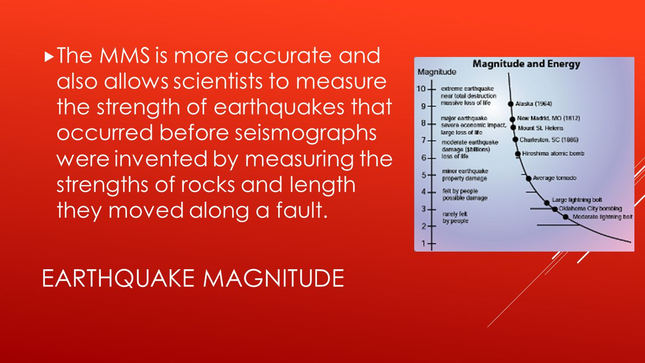 The MMS is more accurate and also allows scientists to measure the strength of earthquakes that occurred before seismographs were invented by measuring the strengths of rocks and length they moved along a fault.