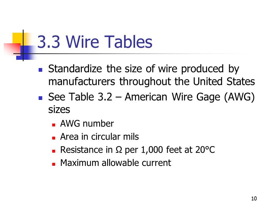 Chapter 3 resistance ecet 1010 fundamentals ppt download 33 wire tables standardize the size of wire produced by manufacturers throughout the united states greentooth Image collections