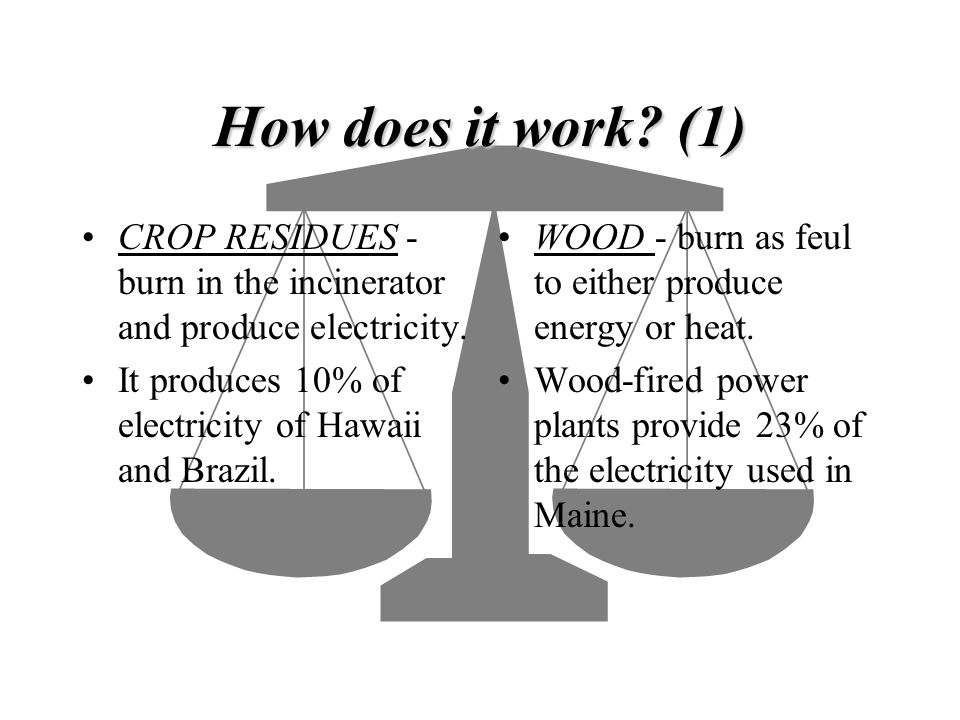 How does it work (1) CROP RESIDUES -burn in the incinerator and produce electricity. It produces 10% of electricity of Hawaii and Brazil.