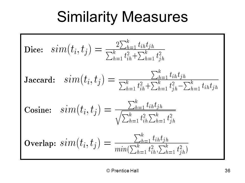 Similarity Measures © Prentice Hall