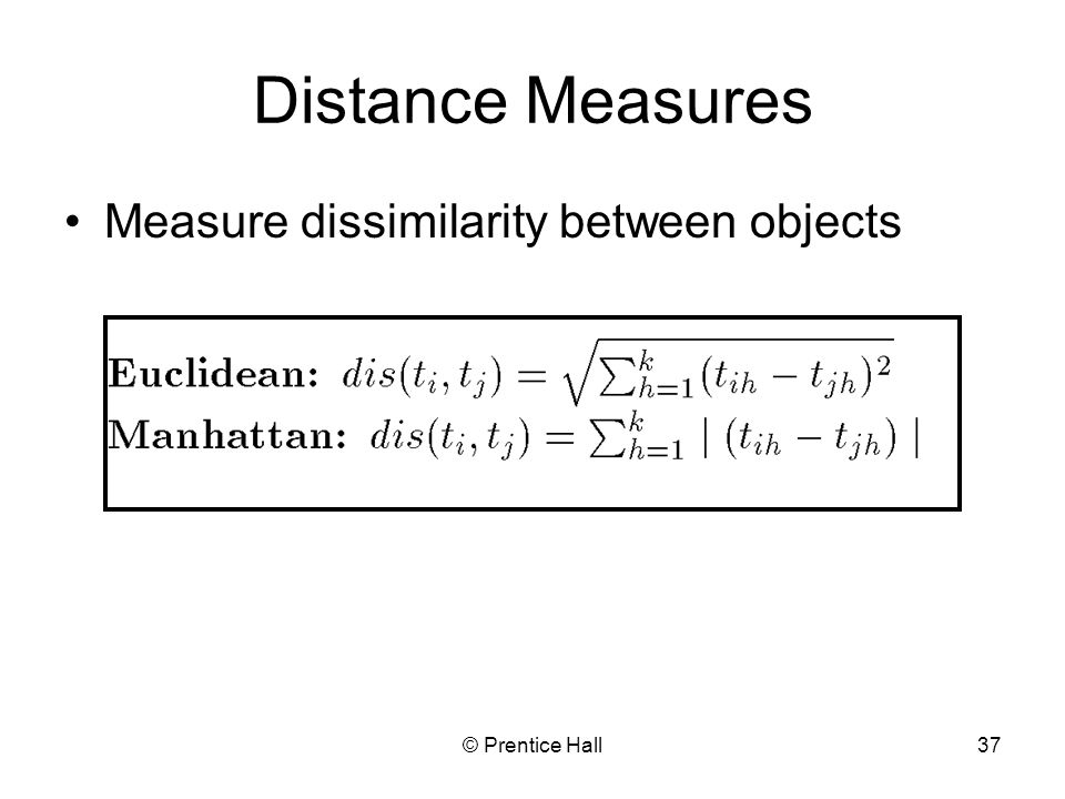 Distance Measures Measure dissimilarity between objects