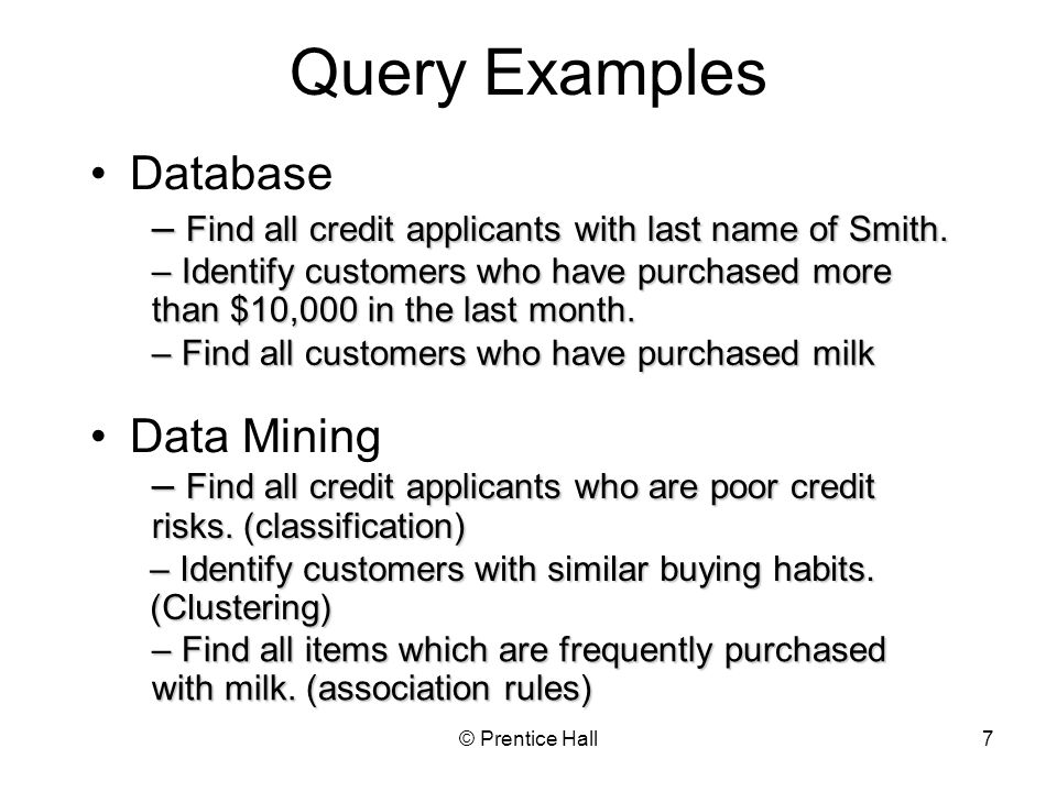 Query Examples Database Data Mining