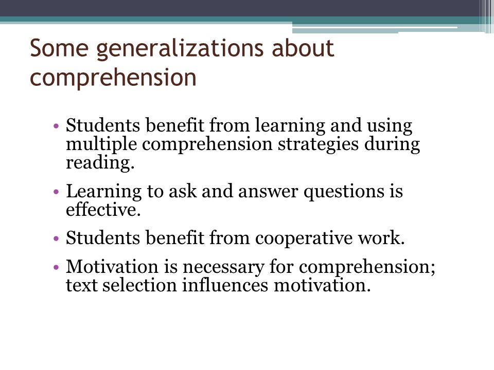 Some generalizations about comprehension