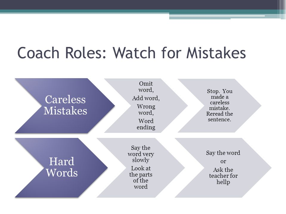 Coach Roles: Watch for Mistakes
