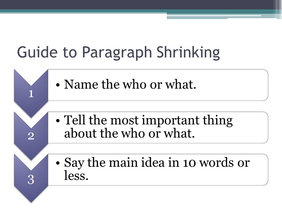 Guide to Paragraph Shrinking
