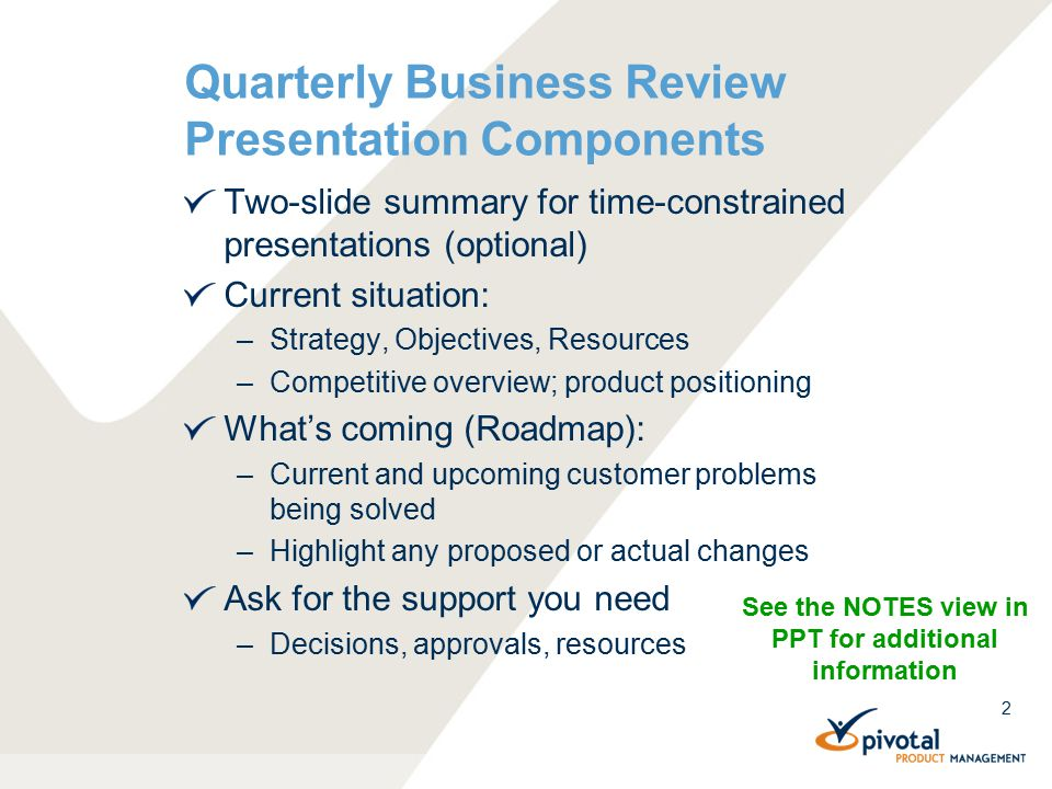 2 Quarterly Business Review Presentation Components