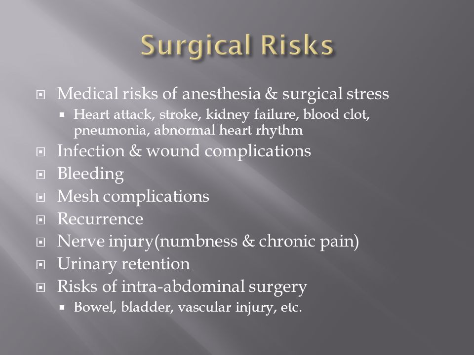 Surgical Risks Medical risks of anesthesia & surgical stress
