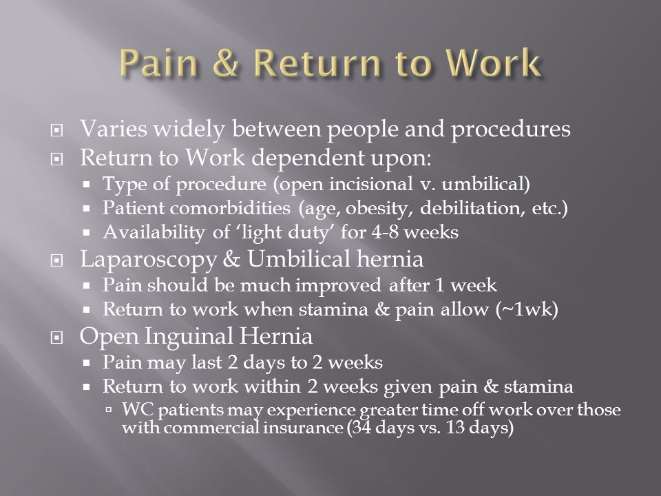 Pain & Return to Work Varies widely between people and procedures