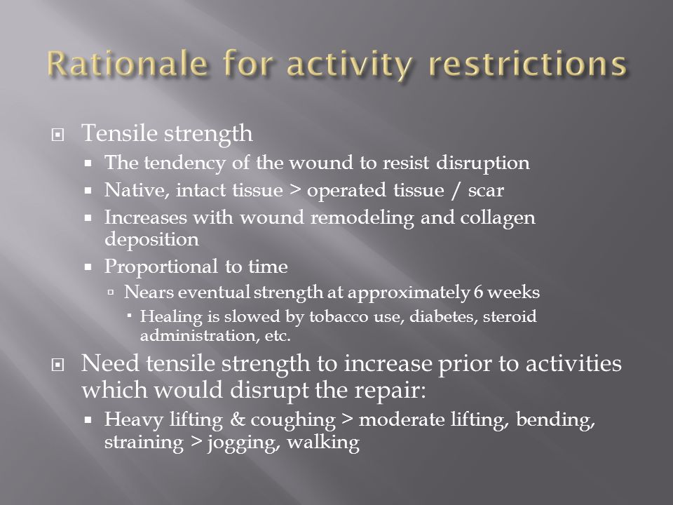 Rationale for activity restrictions