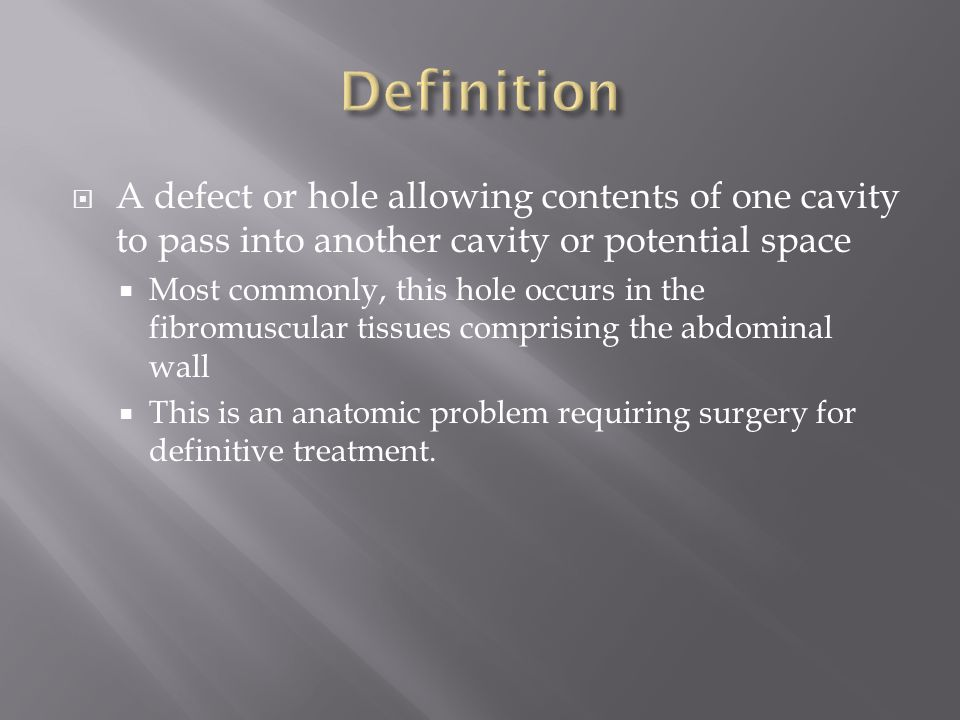 Definition A defect or hole allowing contents of one cavity to pass into another cavity or potential space.